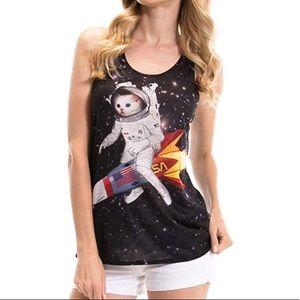 Bear Dance Space Rocket Cat Tank Top